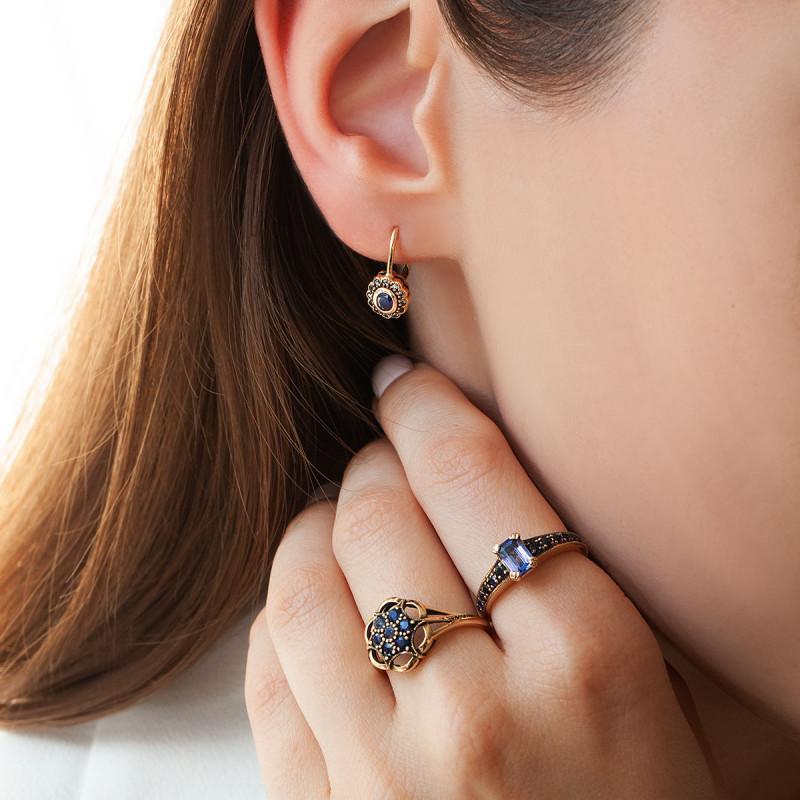 pierścionek-złoty-z-tanzanitem-i-szafirami-kolekcja-wiktoriańska