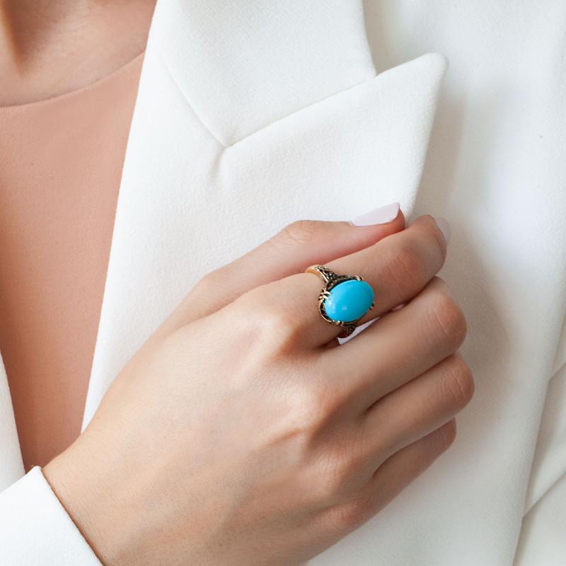pierścionek-złoty-z-turkusem-kolekcja-wiktoriańska