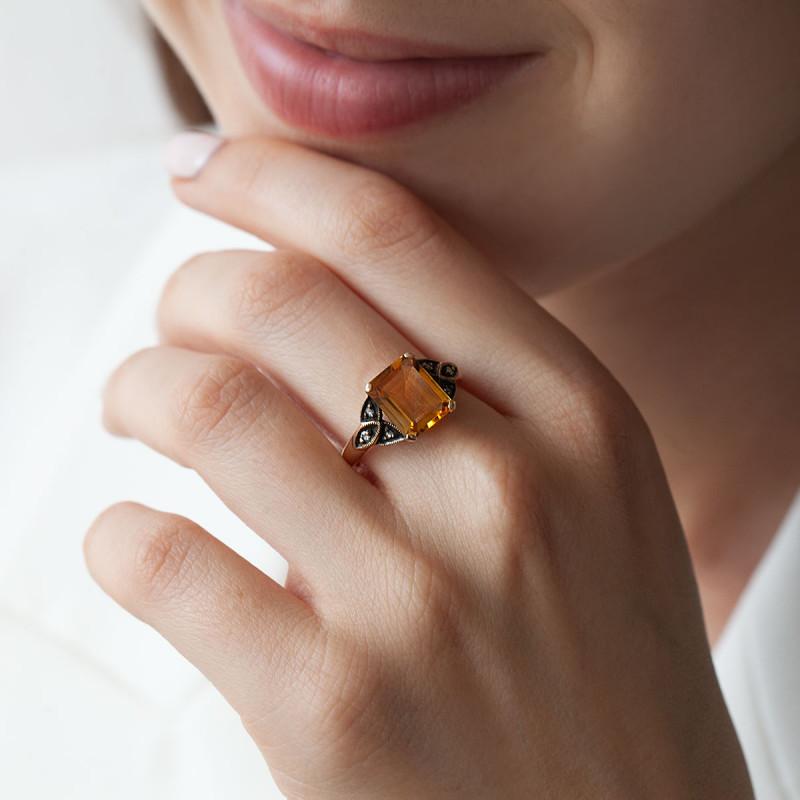 pierścionek-złoty-z-cytrynem-i-diamentami-kolekcja-wiktoriańska-