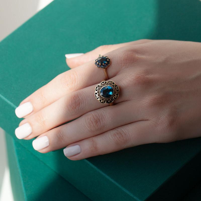 pierścionek-złoty-z-topazem-i-tanzanitami-kolekcja-wiktoriańska