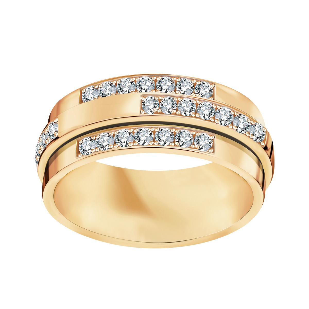 Młodzieńczy Złota obrączka z diamentami (150D - 34964) SM95