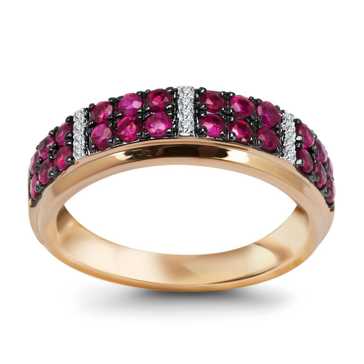 4ab74725f88104 Złoty pierścionek z rubinami (11554R - 25107)