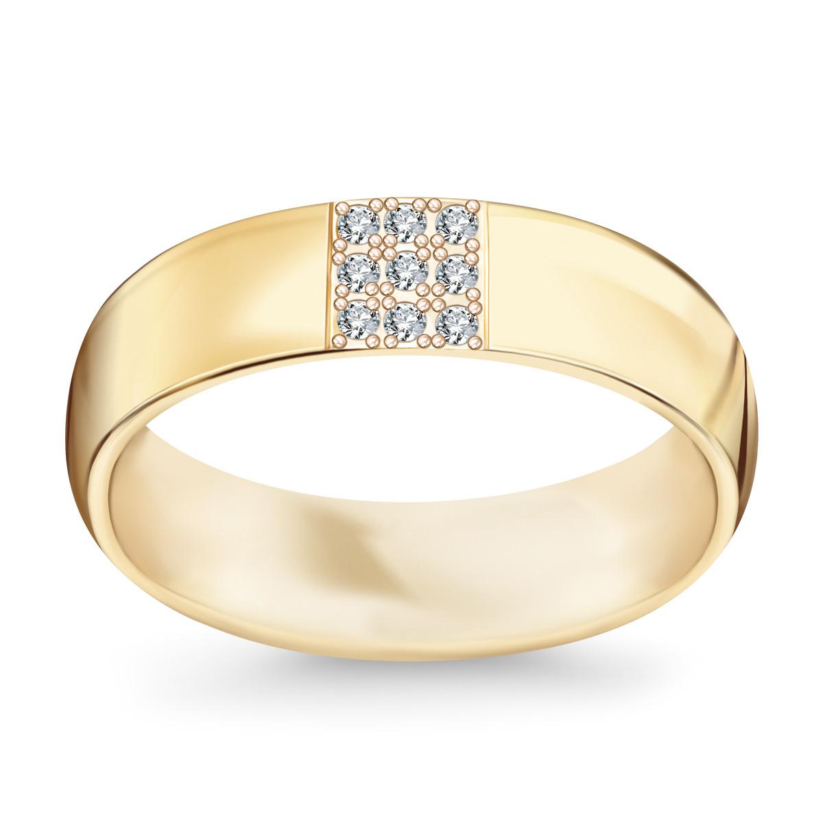 Bardzo dobry Złota obrączka z diamentami (584D - 33673) MN21