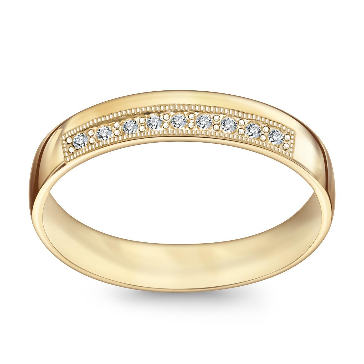 f1bcbf10c9 Złota obrączka z diamentami (585D - 33668)