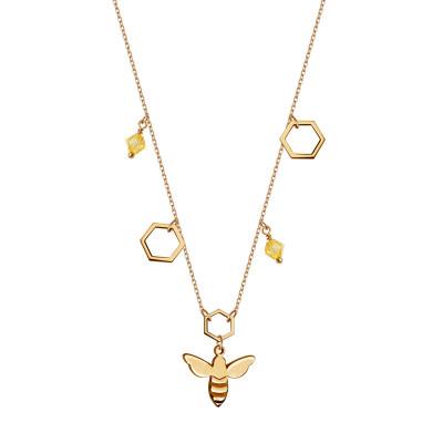naszyjnik-pozłacany-ze-szkłem-pszczoła-queen-b-1