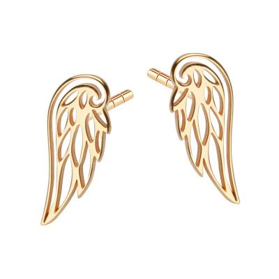 kolczyki-srebrne-pokryte-żółtym-złotem-skrzydło-1