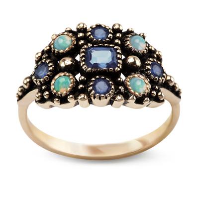 pierścionek-złoty-z-szafirami-i-opalami-kolekcja-wiktoriańska-1