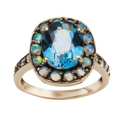 kolekcja-wiktoriańska-pierścionek-złoty-z-topazem-i-opalami-1