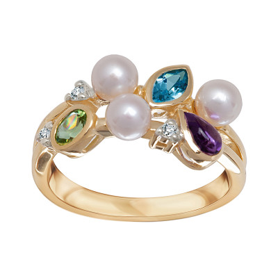 pierścionek-złoty-z-diamentami,-ametystem,-topazem,-peridotem-i-perłami-1