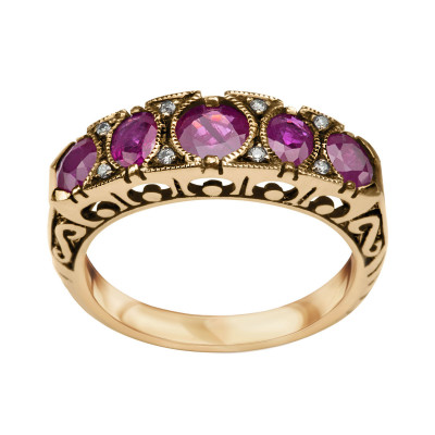pierścionek-złoty-z-diamentami-i--rubinami-kolekcja-wiktoriańska-1