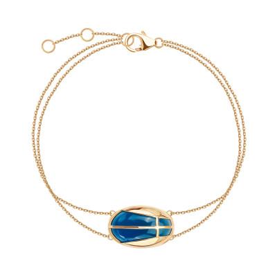bransoletka-złota-z-niebieskim-agatem-skarabeusz-1