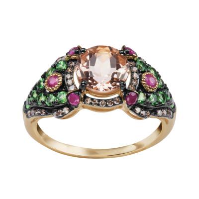 pierścionek-z-żółtego-złota-z-diamentami,-granatami-i-morganitem-1
