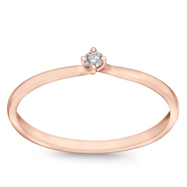 Zdjęcie Valentine - pierścionek z różowego złota z diamentem #1