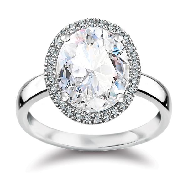 Zdjęcie Jubilé - pierścionek z białego złota z diamentami i topazem #1