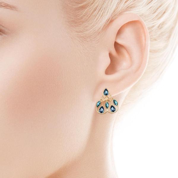 Zdjęcie Pavoni - kolczyki srebrne pokryte złotem z kryształami Swarovskiego #2