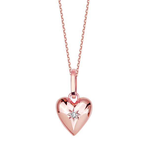 Zdjęcie BeLoved - naszyjnik srebrny pokryty różowym złotem z diamentem #1