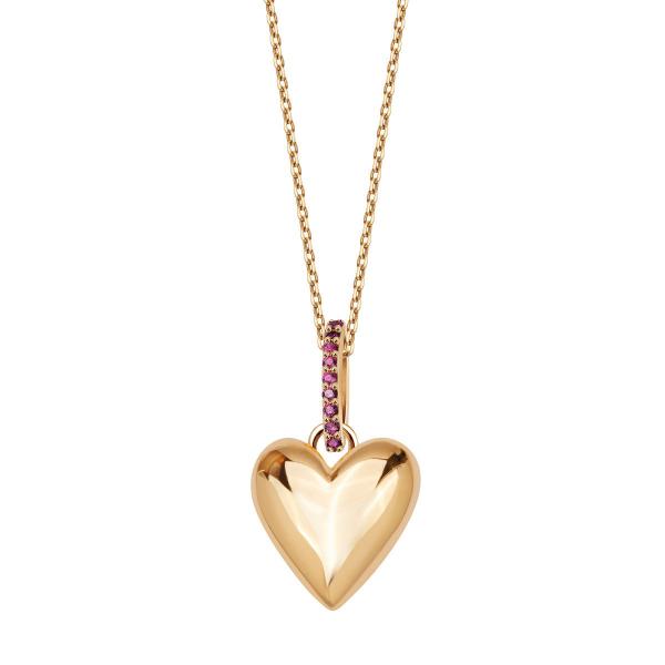 Zdjęcie BeLoved - naszyjnik srebrny pokryty złotem z rubinami #1