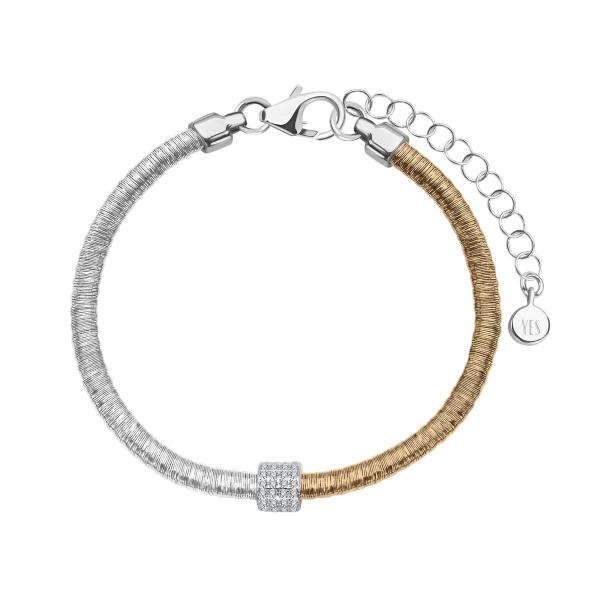 Zdjęcie Gloss - bransoletka srebrna pokryta złotem z cyrkoniami  #1