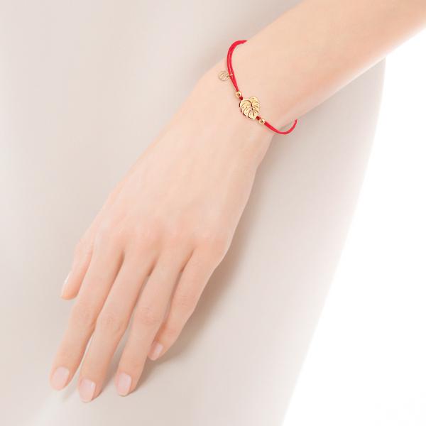 bransoletka-pozłacana-na-sznurku-liść-hippie-3