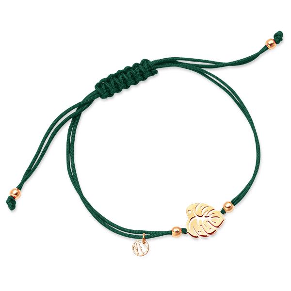 Zdjęcie Hippie - bransoletka srebrna pokryta złotem na sznurku #1