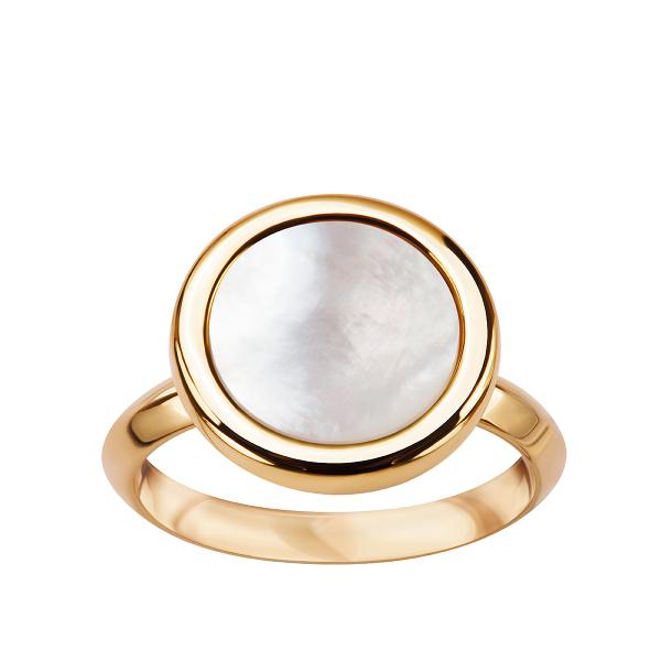 Zdjęcie Medaliony - pierścionek srebrny pokryty złotem z masą perłową #1