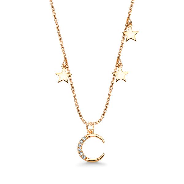 Zdjęcie Night Sky - naszyjnik srebrny pokryty złotem z cyrkoniami #1