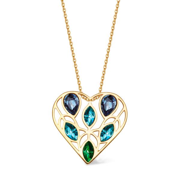 Zdjęcie Pavoni - naszyjnik srebrny pokryty złotem z kryształami Swarovskiego #1