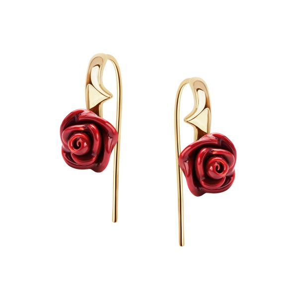 Srebrne Kolczyki Z Emaliowanym Kwiatem Róży Od Yes