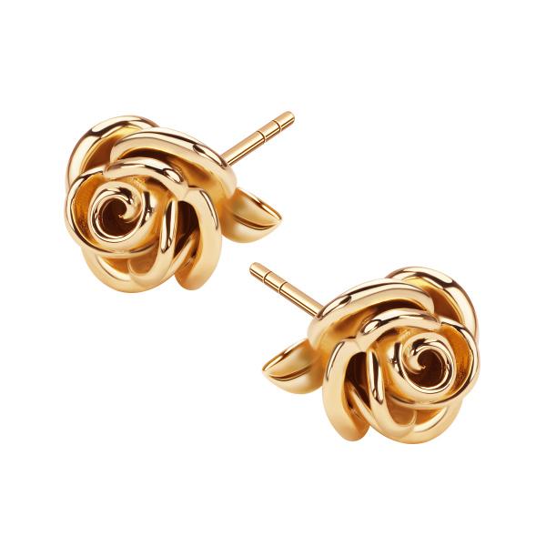 Kolczyki Z Różą W Kolorze Żółtego Złota