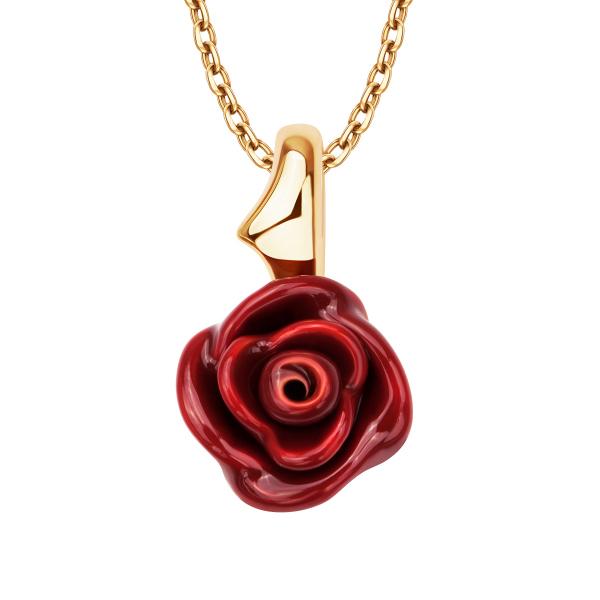Srebrny Naszyjnik Z Zawieszką Czerwony Kwiat Róży Yes