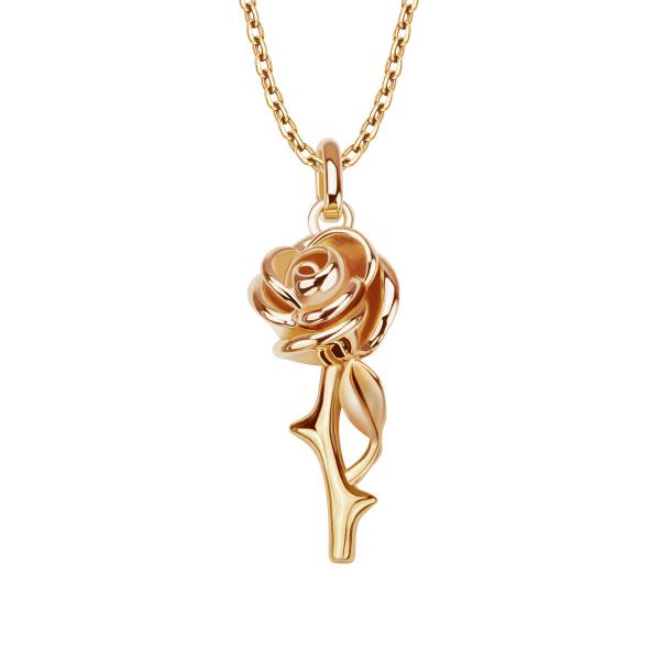 Srebrny Naszyjnik Z Różą Wiszącą Pionowo Yes