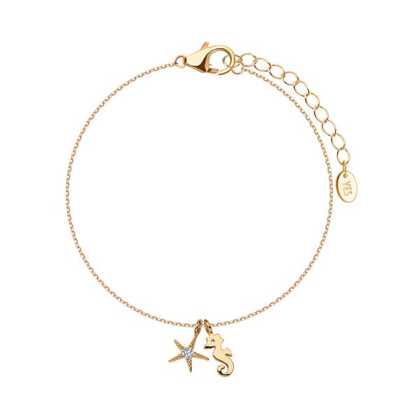 Zdjęcie Simple - bransoletka srebrna pokryta złotem z cyrkoniami #1