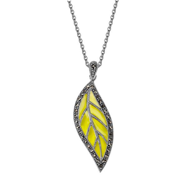 Zdjęcie Naszyjnik ze srebra z markazytami i hematytem #1