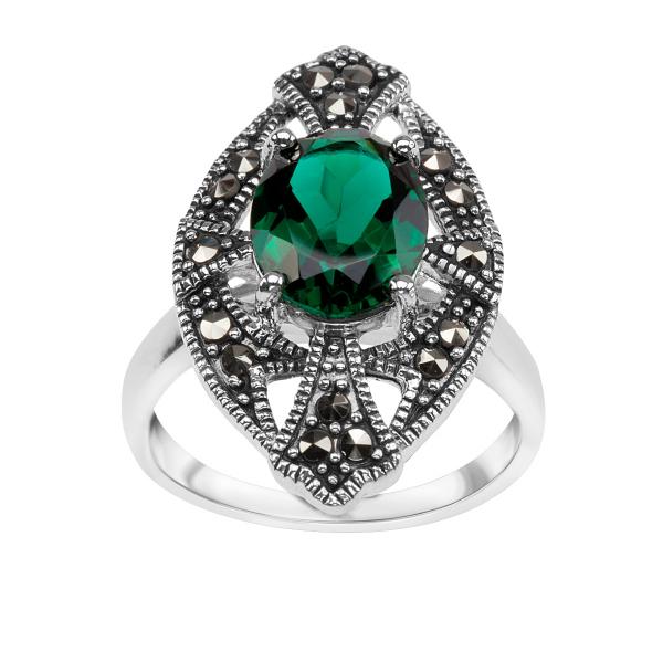 Zdjęcie Srebrny pierścionek z markazytami i kwarcem #1