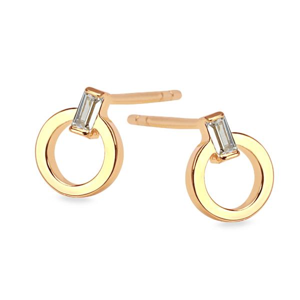 Zdjęcie Unique - kolczyki srebrne pokryte złotem z cyrkoniami #1