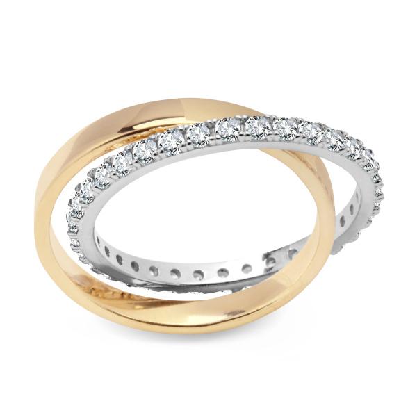 Zdjęcie Unique - pierścionek srebrny pokryty złotem z cyrkoniami #1