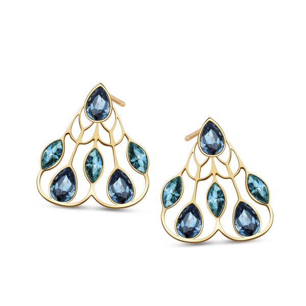 Zdjęcie Pavoni - kolczyki srebrne pokryte złotem z kryształami Swarovskiego #1