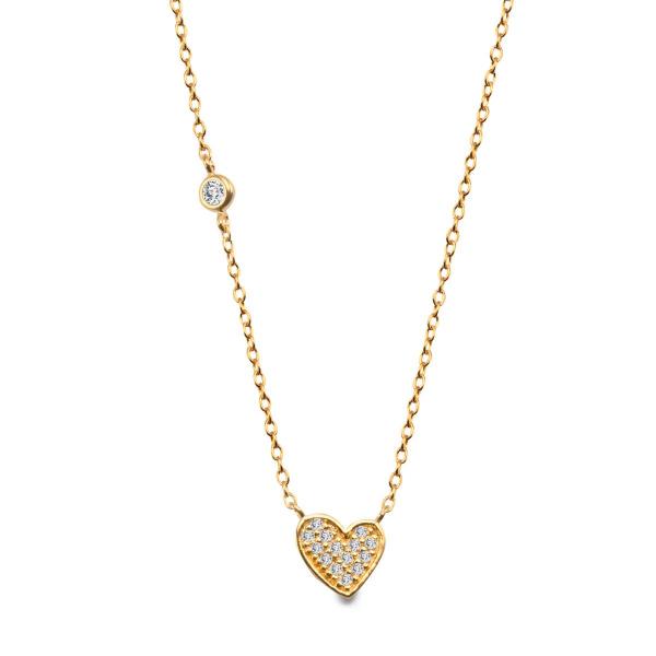 Zdjęcie Unique - naszyjnik srebrny pokryty złotem z cyrkoniami #1