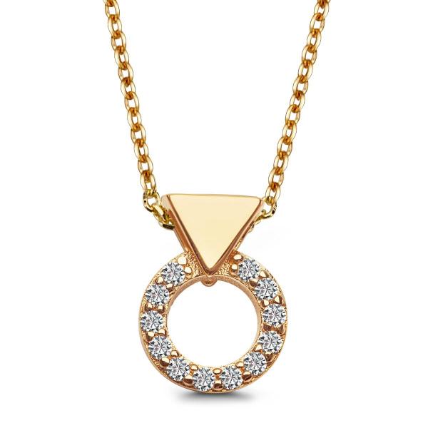 Zdjęcie Unique - naszyjnik srebrny pokryty żółtym złotem z cyrkoniami #1