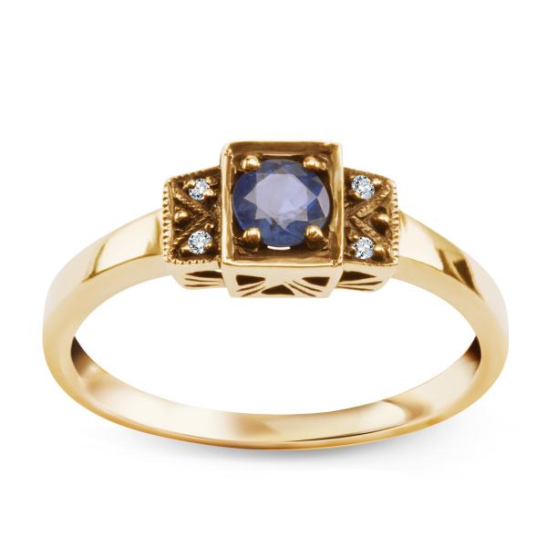 Zdjęcie Kolekcja Wiktoriańska - pierścionek złoty z szafirem i diamentami #1