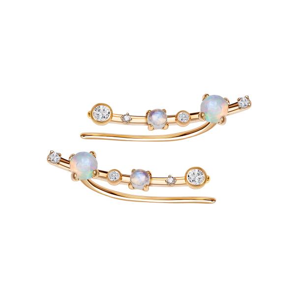 Zdjęcie Cassiopeia - nausznice złote z diamentami, opalami, topazami i kamieniami księżycowymi #1