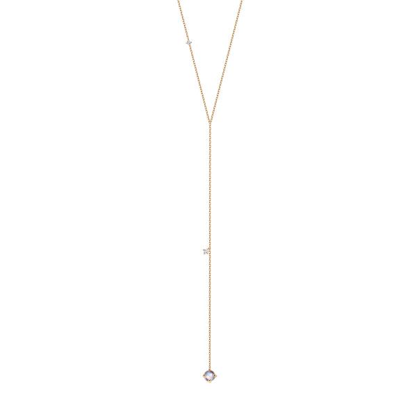 Zdjęcie Cassiopeia - naszyjnik złoty z diamentami i kamieniem księżycowym #1