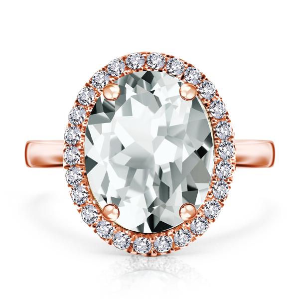 Pierścionek różowe złoto z diamentami i białym topazem kolekcja Jubile