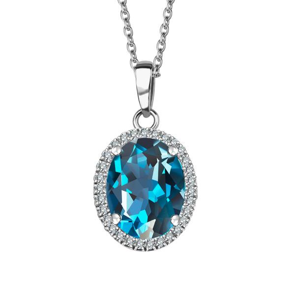 Zdjęcie Jubilé - złota zawieszka z London Blue topazem i diamentami #1