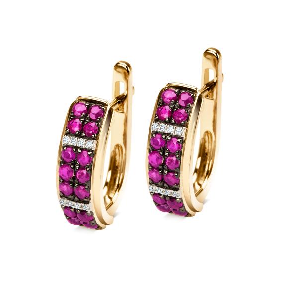 Zdjęcie Kolczyki z diamentami i rubinami #1