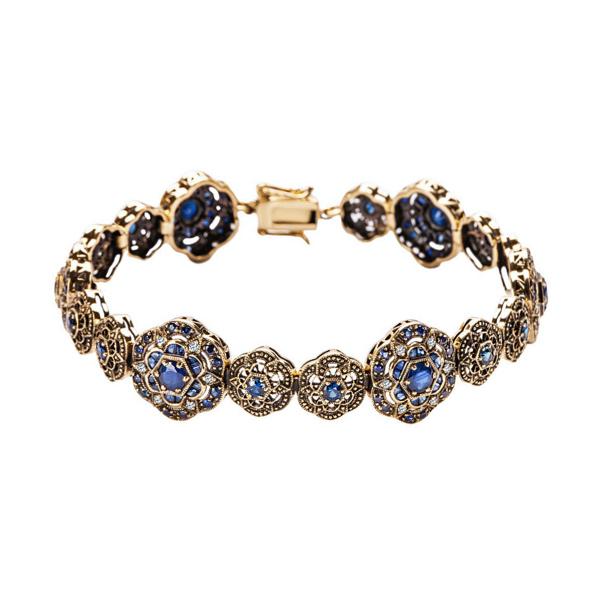 Zdjęcie Kolekcja Wiktoriańska - bransoletka złota z diamentami i szafirami #1
