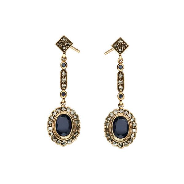 Zdjęcie Kolekcja Wiktoriańska - kolczyki złote z diamentami i szafirami #1