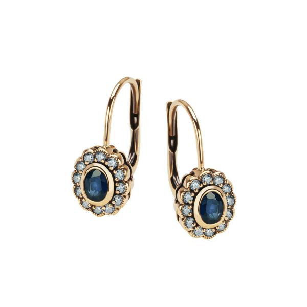 Zdjęcie Kolekcja Wiktoriańska - kolczyki złote z szafirami #1