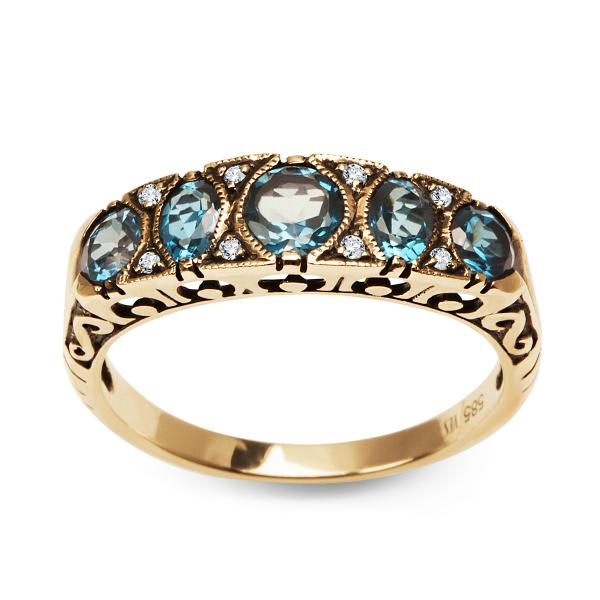 Zdjęcie Kolekcja Wiktoriańska - pierścionek z diamentami i topazami  #1
