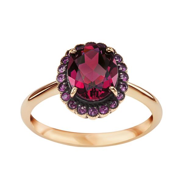 Zdjęcie Kolekcja Wiktoriańska - pierścionek z żółtego złota z rodolitem i rubinami #1